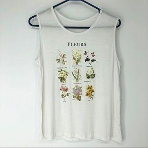 Urban Outfitters Medium White Fleurs Flower Tank